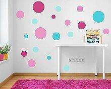 farbig 19 pink und türkis gepunktet Wand Sticker Aufkleber Wandmalerei Mädchen Schlafzimmer Babyzimmer Kinderzimmer Spielzimmer