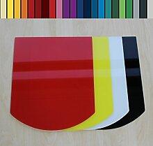 Farbige Glasbodenplatte Funkenschutz Kaminplatte Glas Ofen Platte Bodenplatte Wunschfarbe nach RAL ([RAL] Segmentbogen 100x100cm [SB100/100])