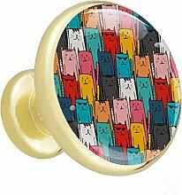 Farbige Katzen Nahtlos Möbelknopf Gold Metall
