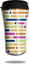 Farbige Linien Punkte Glas Kaffeebecher Travel Mug