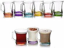 Farbige Set aus 6Gläsern Tee Kaffee Cappuccino Tassen Hot Drink Becher Geschenk