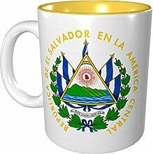 Farbige Tasse mit Wappen von El Salvador aus