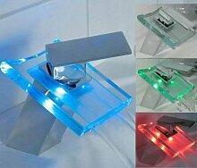 Farbige Wasserfall Glas Waschtisch Armatur Magicwater mit LED Technik und beleuchtetem Wasserstrahl Leuchtet der Magicwater