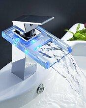 Farbwechs?l LED Wasserfa?l Waschbecken Wasserhahn