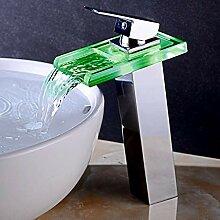 Farbwechsel LED Licht Glas Waschbecken Wasserhahn