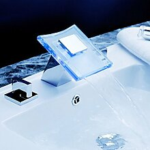 Farbwechsel LED Wasserfall verbreitet Waschbecken Wasserhahn mit Ablaufgarnitur
