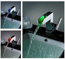 Farbwechsel LED Wasserfall Waschbecken Wasserhahn - Blade Serie
