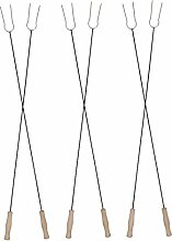 FARMCOOK Lagerfeuergabeln Edelstahl zwei Längen Menge wählbar (6, 130 cm)