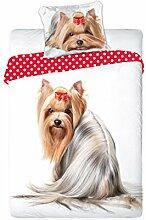 Faro Yorkshire Hund Welpe Best Friends Set Bett, Bettbezug 160 x 200 Einzelbett 100% Baumwolle Bettwäsche, Mehrfarben, 200 x 160 cm