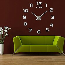 FAS1 Moderne DIY Große Wanduhr Big Armbanduhr Aufkleber 3D Aufkleber Spiegel Effekt Acryl Wanduhr Home Office Abnehmbarer Dekoration (Akku Nicht Enthalten) Schwarz