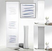 fashion and joy Flächenvorhang mit Farbverlauf in blau grau Abstrakt inkl. Zubehör HxB 245x60 cm - Schiebegardine halbtransparent Modern Chic Gardine Typ415