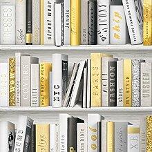 Fashion Bibliothek Bücherregal Tapete–Gold–139503