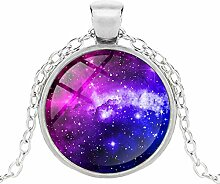 Fashion Choker Halskette Glas Galaxie Anhänger