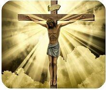 Fashion Design Christian Christus Kreuz Religion Jesus an dem Kreuz Sun Light Mousepad Mauspad Gaming Mousepad tolle Geschenkidee