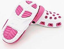 Fashion&Joy - CLOGS Damen in weiß pink Gr. 40 mit Fersenriemen und Profilsohle - Gartenschuhe Badeschuhe Sandalen - GESCHÜTZT UND GUT BELÜFTET durch den Sommer - Hausschuhe Pantoletten Damenclogs Clog Typ428