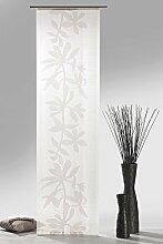 Fashion&Joy - Schiebegardine natur-braun inkl. kompletten Zubehör HxB 245x60 cm Natural aus Web-Scherli mit Blumenranke - Flächenvorhang Schiebevorhang Typ409