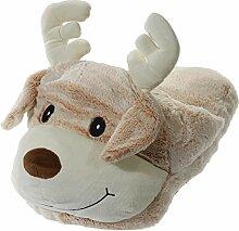 Fashion&Joy XXL Pantoffel Fußwärmer Rentier Hausschuhe Tier Plüsch Puschen Fußkissen 25x40 cm warme Füße am Schreibtisch originelle Geschenkidee Weihnachten Typ493