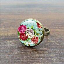 Fashion Ringe für Frauen Rose Blume Glas Cabochon