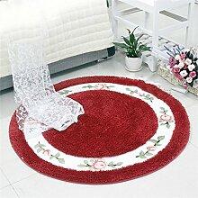Fashion Round Teppich Schlafzimmer Wohnzimmer Bedside Korb Decke Studie Computer Stuhl Drehstuhl Stuhl Teppich rutschfeste Fuß Pad Yoga Matten (90cm)