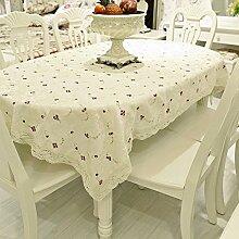 Fashion stickerei tisch tuch/pastorale kaffee/tee tischdecke/home tücher-Weiß 135x135cm(53x53inch)
