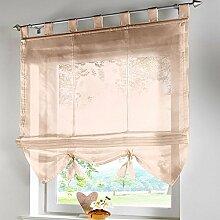 Fashion Style Krawatte Jalousien Fenster Vorhang mit Bead Vorhang, 100 % Polyester, dunkles kaki, 140X155CM