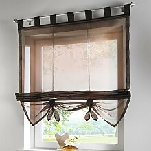 Fashion Style Krawatte Jalousien Fenster Vorhang mit Bead Vorhang, 100 % Polyester, schokoladenbraun, 80X155CM
