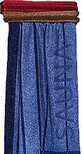 Fashion XXL Saunatuch DUKE blau leicht meliert, Streifen und Schriftzug SAUNA 90 x 200cm