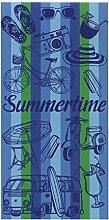 Fashion XXL Strandtuch Strandlaken ON THE BEACH BLUE in ausgefallenem Design 75 x 150 cm