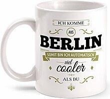 Fashionalarm Tasse Ich komme aus Berlin - beidseitig bedruckt mit coolem Spruch   Geschenk Idee für Berliner Männer & Frauen, Farbe:weiß