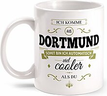 Fashionalarm Tasse Ich komme aus Dortmund - beidseitig bedruckt mit coolem Spruch   Geschenk Idee für Dortmunder Männer & Frauen, Farbe:weiß
