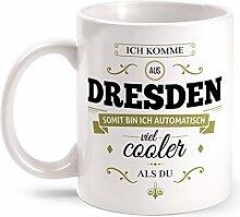 Fashionalarm Tasse Ich komme aus Dresden - beidseitig bedruckt mit coolem Spruch   Geschenk Idee für Dresdner Männer & Frauen, Farbe:weiß