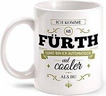 Fashionalarm Tasse Ich komme aus Fürth - beidseitig bedruckt mit coolem Spruch   Geschenk Idee für Fürther Männer & Frauen, Farbe:weiß