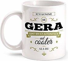 Fashionalarm Tasse Ich komme aus Gera - beidseitig bedruckt mit coolem Spruch   Geschenk Idee für Geraer Männer & Frauen, Farbe:weiß