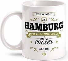 Fashionalarm Tasse Ich komme aus Hamburg - beidseitig bedruckt mit coolem Spruch   Geschenk Idee für Hamburger Männer & Frauen, Farbe:weiß