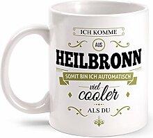 Fashionalarm Tasse Ich komme aus Heilbronn - beidseitig bedruckt mit coolem Spruch   Geschenk Idee für Heilbronner Männer & Frauen, Farbe:weiß