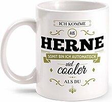 Fashionalarm Tasse Ich komme aus Herne - beidseitig bedruckt mit coolem Spruch   Geschenk Idee für Herner Männer & Frauen, Farbe:weiß