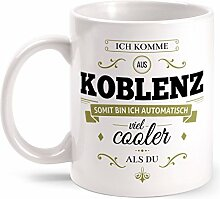 Fashionalarm Tasse Ich komme aus Koblenz - beidseitig bedruckt mit coolem Spruch   Geschenk Idee für Koblenzer Männer & Frauen, Farbe:weiß