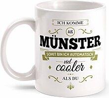 Fashionalarm Tasse Ich komme aus Münster - beidseitig bedruckt mit coolem Spruch   Geschenk Idee für Münsteraner Männer & Frauen, Farbe:weiß