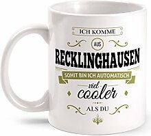 Fashionalarm Tasse Ich komme aus Recklinghausen - beidseitig bedruckt mit coolem Spruch   Geschenk Idee für Recklinghäuser Männer & Frauen, Farbe:weiß