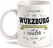 Fashionalarm Tasse Ich komme aus Würzburg - beidseitig bedruckt mit coolem Spruch   Geschenk Idee für Würzburger Männer & Frauen, Farbe:weiß