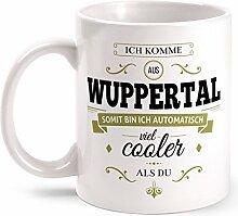 Fashionalarm Tasse Ich komme aus Wuppertal - beidseitig bedruckt mit coolem Spruch   Geschenk Idee für Wuppertaler Männer & Frauen, Farbe:weiß