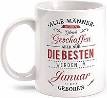 Fashionalarm Tasse Nur die besten Männer werden im Januar geboren - beidseitig bedruckt mit Spruch   Geburtstag Geschenk Idee Januar Kind, Farbe:weiß