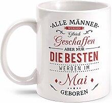 Fashionalarm Tasse Nur die besten Männer werden im Mai geboren - beidseitig bedruckt mit Spruch   Geburtstag Geschenk Idee Mai Kind, Farbe:weiß