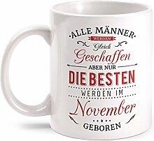 Fashionalarm Tasse Nur die besten Männer werden im November geboren - beidseitig bedruckt mit Spruch   Geburtstag Geschenk Idee November Kind, Farbe:weiß