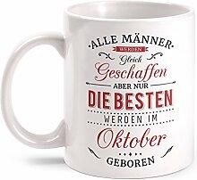 Fashionalarm Tasse Nur die besten Männer werden im Oktober geboren - beidseitig bedruckt mit Spruch   Geburtstag Geschenk Idee Oktober Kind, Farbe:weiß