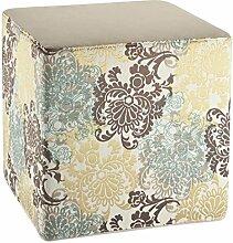 Fashionpillow -1131050006- Sitzhocker Dave, Sitzwürfel mit 45x45x45cm - mit Blumen Design in braun - gelb - blau