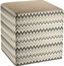 Fashionpillow -1131050008- Sitzhocker Dave, Sitzwürfel mit 45x45x45cm - mit Zacken Design in grau - braun - beige