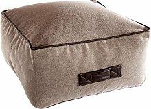 Fashionpillow -1131053001- kleiner Sitzsack Paul / Sitzkissen in Walnuss - dunkel abgesetzt - quadratischer Pouf/ Sitzhocker, 50x50x30cm