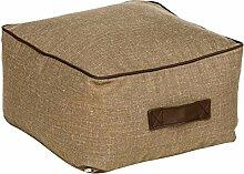 Fashionpillow -1131053006- kleiner Sitzsack Paul / Sitzkissen in Beige - quadratischer Pouf/ Sitzhocker, 50x50x30cm