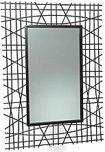 Fashionpillow -1211071- Lanka Deko Wandspiegel mit Stahldraht-Rahmen, Eisen/schwarz, 51x1x70cm